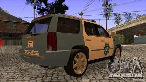 Cadillac Escalade 2007 Cop Car para la visión correcta GTA San Andreas