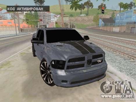 Dodge Ram R/T 2011 para GTA San Andreas vista hacia atrás