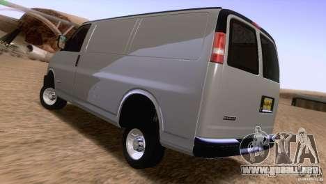Chevrolet Savana 3500 Cargo Van para GTA San Andreas vista posterior izquierda