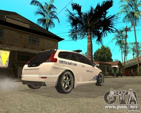 VOLVO C30 SAFETY CAR STCC v2.0 para GTA San Andreas vista posterior izquierda
