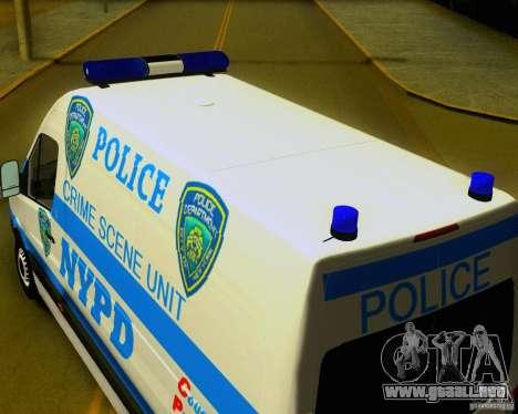 Mercedes Benz Sprinter NYPD police para la visión correcta GTA San Andreas