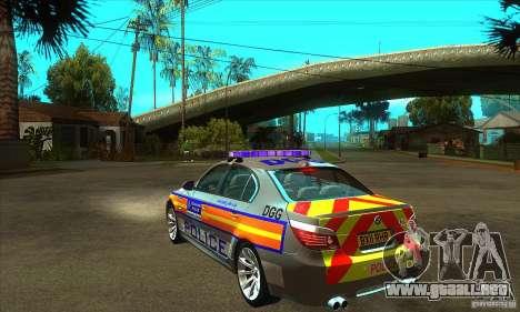 Metropolitan Police BMW 5 Series Saloon para GTA San Andreas vista posterior izquierda