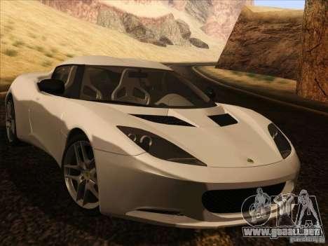 Lotus Evora para GTA San Andreas vista hacia atrás
