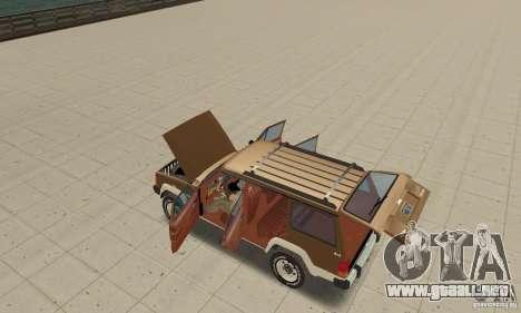Jeep Grand Cherokee 1986 para vista lateral GTA San Andreas