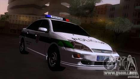 Ford Focus Policija para GTA San Andreas vista posterior izquierda