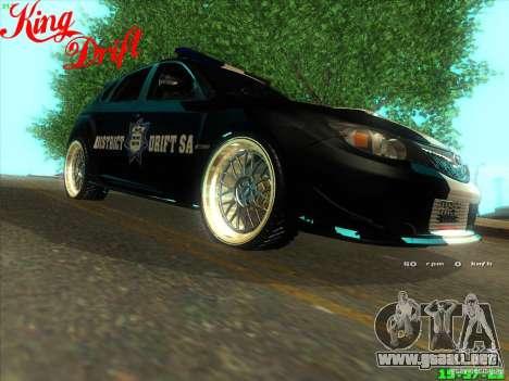 Subaru Impreza WRX Police para la visión correcta GTA San Andreas
