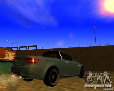 BMW M3 E90 pickup para GTA San Andreas vista posterior izquierda