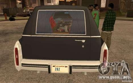 Cadillac Fleetwood Hearse 1985 para GTA San Andreas vista posterior izquierda