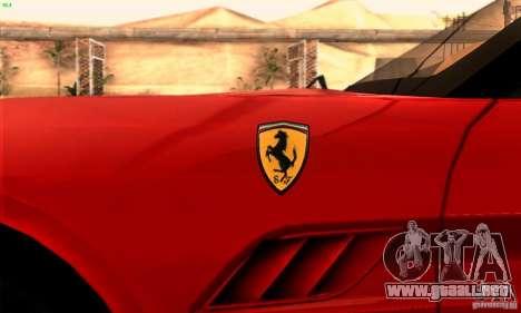 Ferrari California V3 para vista lateral GTA San Andreas
