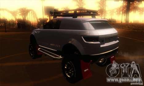 Land Rover Evoque para GTA San Andreas vista posterior izquierda