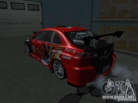 Mitsubishi Evolution X Stock-Tunable para visión interna GTA San Andreas