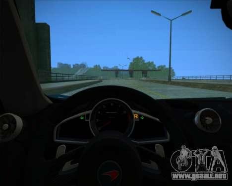 McLaren MP4-12C 2012 para visión interna GTA San Andreas