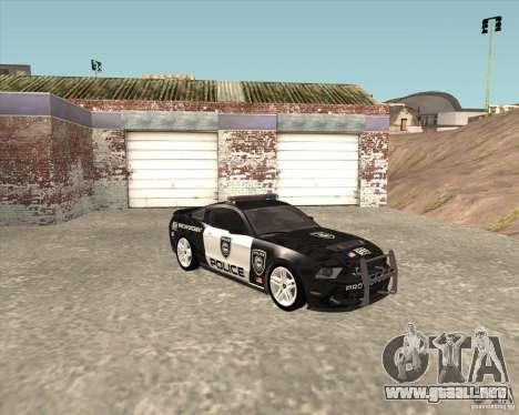 Ford Shelby GT500 2010 Police para GTA San Andreas vista posterior izquierda