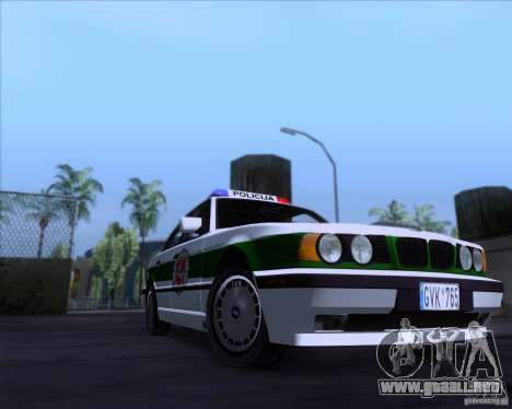 BMW E34 Policija para GTA San Andreas vista posterior izquierda