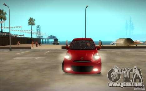 Nissan Micra 2011 para vista lateral GTA San Andreas