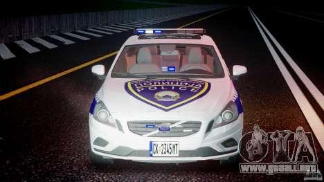 Volvo S60 Macedonian Police [ELS] para GTA 4 vista desde abajo