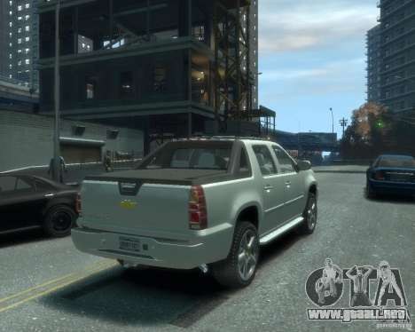Chevrolet Avalanche Version Pack 1.0 para GTA 4 Vista posterior izquierda