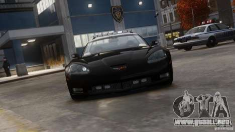 Chevrolet Corvette LCPD Pursuit Unit para GTA 4 Vista posterior izquierda