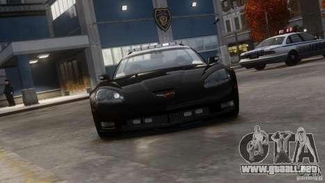 Chevrolet Corvette LCPD Pursuit Unit para GTA 4 Vista posterior izquierda