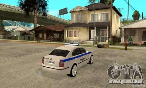 Skoda SuperB GEO Police para la visión correcta GTA San Andreas