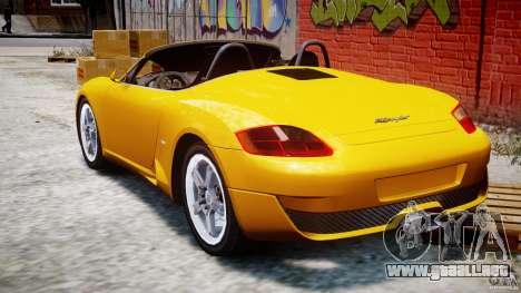 Ruf RK Spyder v0.8Beta para GTA 4 Vista posterior izquierda