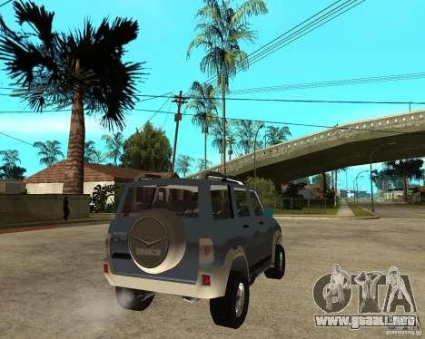 UAZ Patriot 4 x 4 para GTA San Andreas vista posterior izquierda