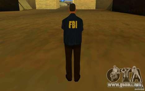 HQ skin FBI para GTA San Andreas sucesivamente de pantalla