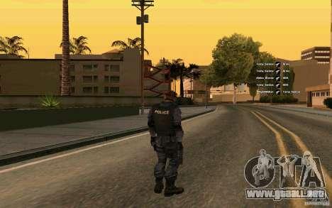 SWAT piel para GTA San Andreas segunda pantalla