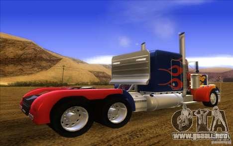 Truck Optimus Prime v2.0 para GTA San Andreas left