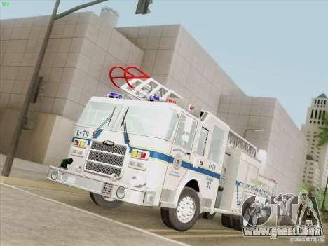 Pierce Puc Aerials. Bone County Fire & Ladder 79 para GTA San Andreas vista posterior izquierda