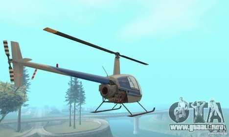 Robinson R22 para GTA San Andreas vista hacia atrás
