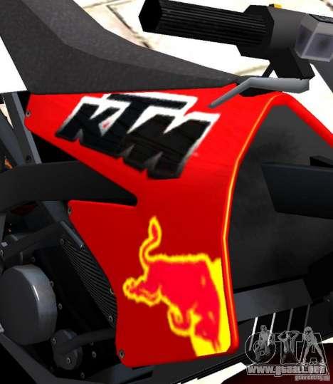 KTM EXC 450 para GTA 4 vista hacia atrás