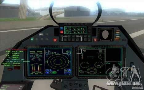 SU t-50 Pak FA para GTA San Andreas vista hacia atrás