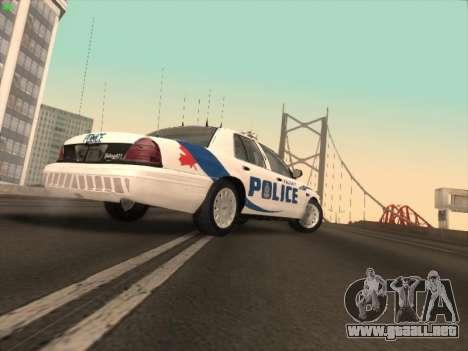 Ford Crown Victoria Vancouver Police para GTA San Andreas vista posterior izquierda