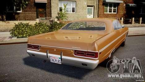 Plymouth Fury III Coupe 1969 para GTA 4 Vista posterior izquierda