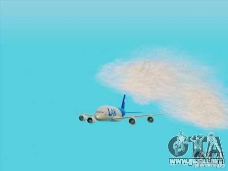 Airbus A380-800 Lan Airlines para GTA San Andreas vista hacia atrás