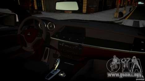 BMW X 6 Hamann para GTA 4 vista hacia atrás