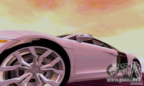 Audi R8 V10 5.2. FSI para GTA San Andreas vista posterior izquierda
