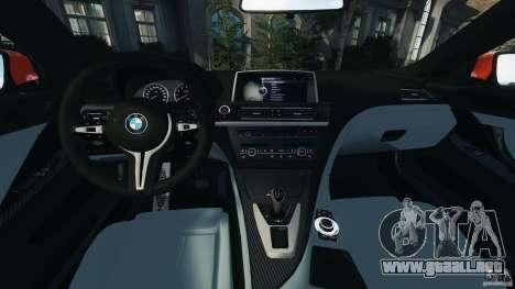 BMW M6 F13 2013 v1.0 para GTA 4 vista hacia atrás
