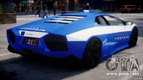 Lamborghini Reventon Polizia Italiana para GTA 4 visión correcta