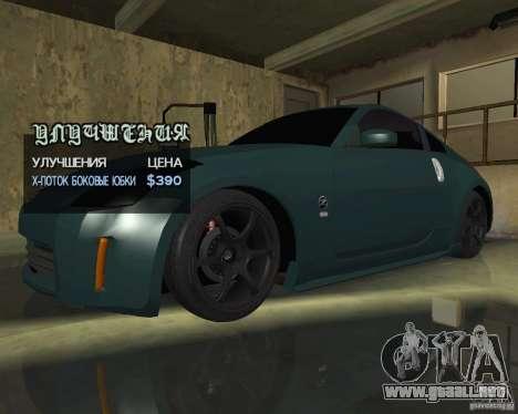 Nissan 350Z Tunable para la vista superior GTA San Andreas