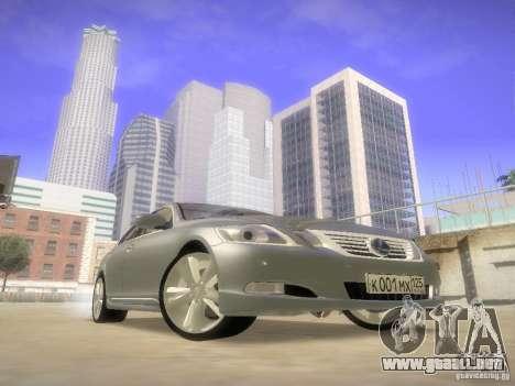 Lexus GS450H para GTA San Andreas vista hacia atrás