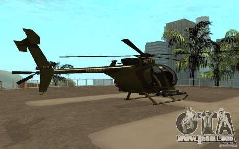 AH 6 para GTA San Andreas vista posterior izquierda