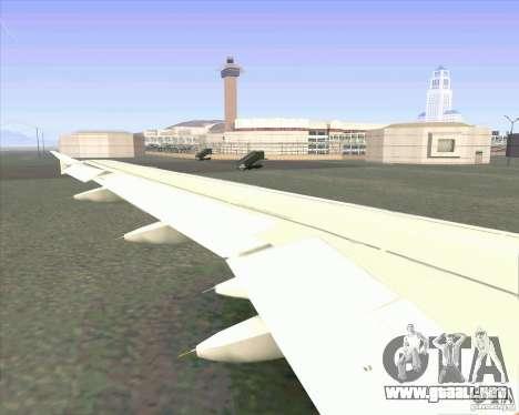 Airbus A-320 aerolínea UTair para GTA San Andreas vista hacia atrás