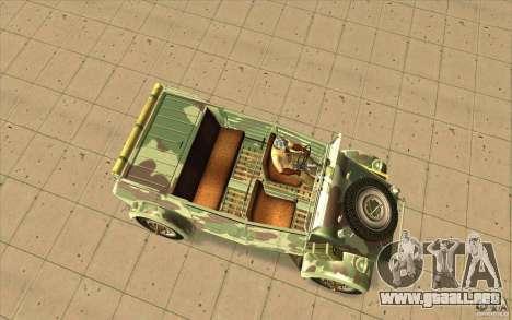 Kuebelwagen para la visión correcta GTA San Andreas
