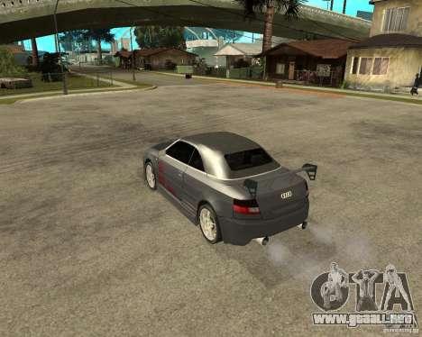 AUDI A4 Cabriolet para GTA San Andreas vista posterior izquierda
