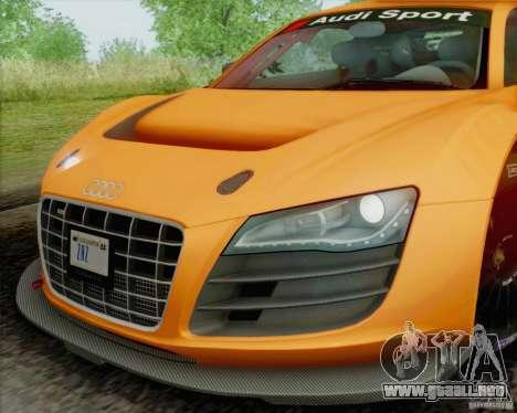 Audi R8 LMS GT3 para GTA San Andreas vista hacia atrás