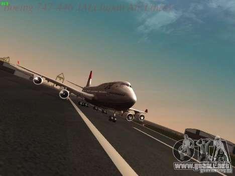 Boeing 747-446 Japan-Airlines para GTA San Andreas vista hacia atrás