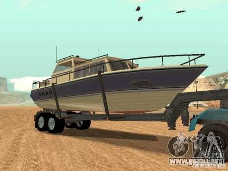 Boat Trailer para GTA San Andreas vista hacia atrás