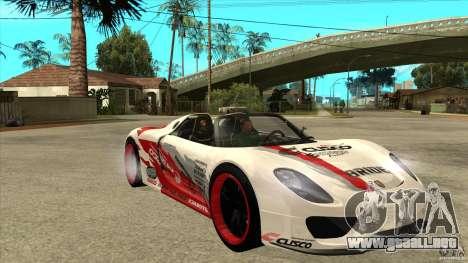Porsche 918 Spyder Consept para GTA San Andreas vista hacia atrás
